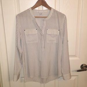 Calvin Klein white and black striped button down